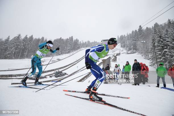 French Jason LamyChappuis compete during the individual Gundersen of the FIS Nordic Combined World Cup on January 20 2018 in ChauxNeuve eastern...