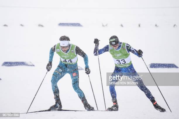 French Jason LamyChappuis competes during the individual Gundersen of the FIS Nordic Combined World Cup on January 20 2018 in ChauxNeuve eastern...