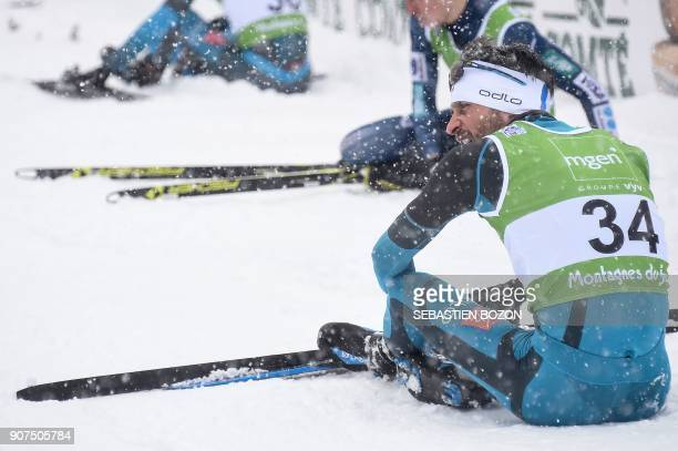 French Jason LamyChappuis looks on at the end of the individual Gundersen of the FIS Nordic Combined World Cup on January 20 2018 in ChauxNeuve...