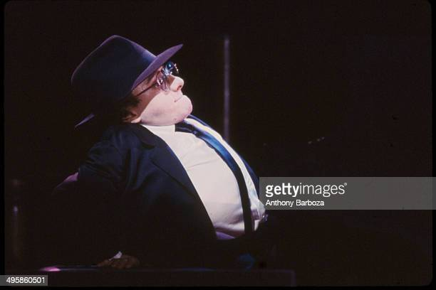 French jazz musician Michel Petrucciani plays piano as he performs on stage during the 'One Night With Blue Note' concert at Town Hall, New York, New...