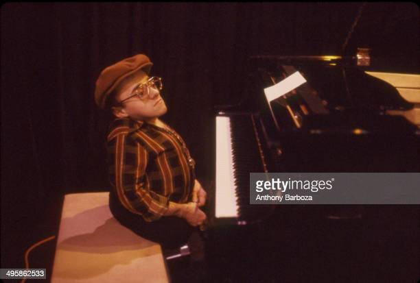 French jazz musician Michel Petrucciani plays piano during rehersals for the 'One Night With Blue Note' concert , New York, New York, February 1985.