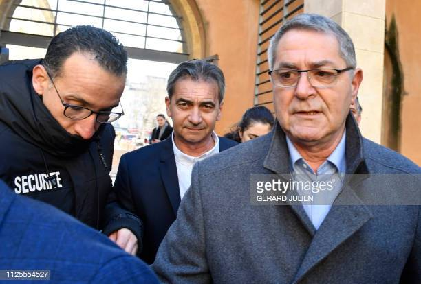 French Jean Fauret and Bruno Odos respectively pilot and copilot arrive on February 18 2019 at the Assize Court of AixEnProvence southern France...