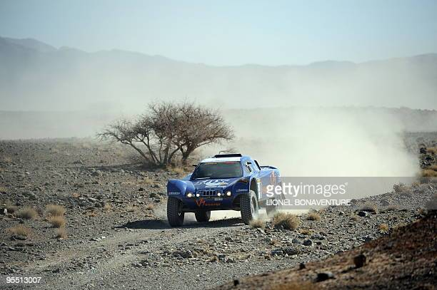 French Jean Louis Schlesser drives his buggy during the second stage of the second edition of the Africa Eco Race on December 31 2009 The Africa Race...