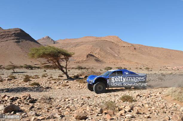 French Jean Louis Schlesser drives his Schlesser buggy during the Fifth stage between BouJerif and Agadir of the first edition of the Africa Race on...