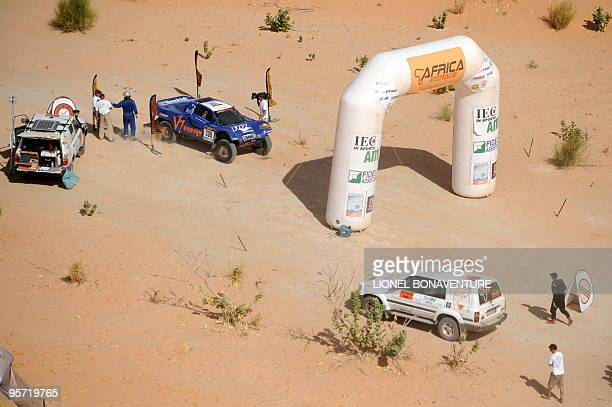French Jean Louis Schlesser is seen on yhe finish line during the 9th stage Tabenkrout Tenadi Mauritania of the second edition of the Africa Eco Race...
