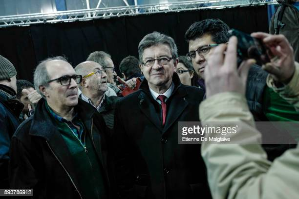 French Jean Luc Melenchon leader of Les Insoumis movement during a meeting of En Comu Podem coalition ahead of Catalan Parliament election on...