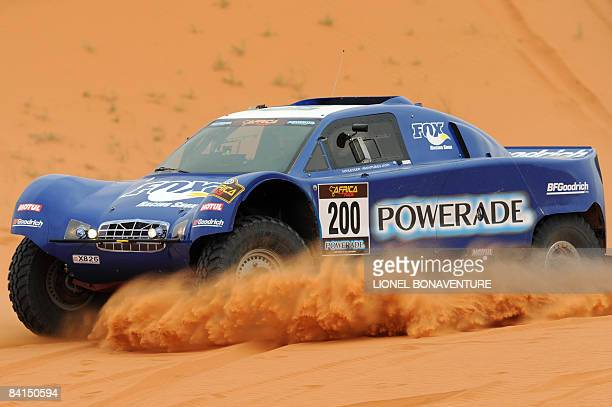French JeanLouis Schlesser drives his Schlesser buggy during the second stage between Boutnib and Ouarzazate of the first edition of the Africa Race...