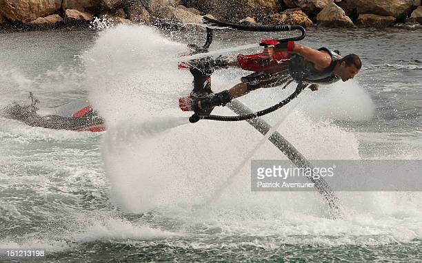 French Jet Ski Champion Franky Zapata tests and experiments with his invention the Zapata Flyboard on August 26 2012 in Marseille France Franky...