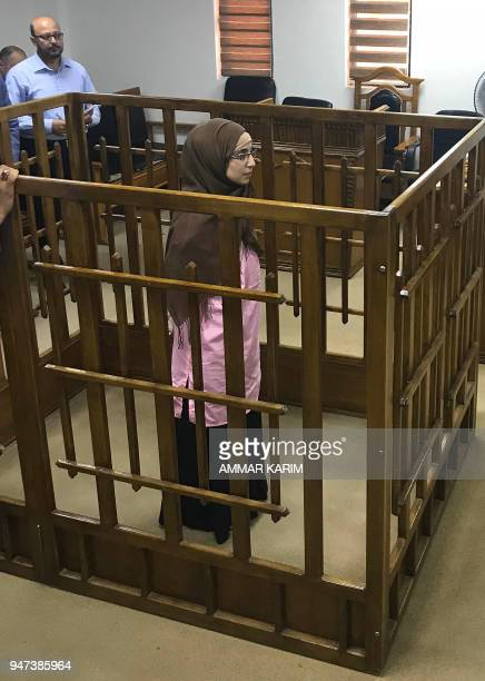 French jihadist Djamila Boutoutaou attends her trial at the Central penal Court in Baghdad on April 17 2018 French jihadist Boutoutaou was sentenced...
