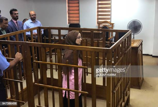 TOPSHOT French jihadist Djamila Boutoutaou attends her trial at the Central penal Court in Baghdad on April 17 2018 French jihadist Boutoutaou was...