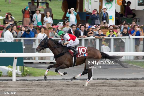 French jockey Mickaelle Michel riding Suave Aramis wins the Race 10 2019 World AllStar Jockeys 3rd Leg at Sapporo Racecourse on August 25 2019 in...