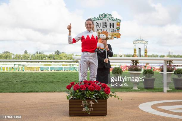 French jockey Mickaelle Michel with Suave Aramis wins the Race 10 2019 World AllStar Jockeys 3rd Leg at Sapporo Racecourse on August 25 2019 in...