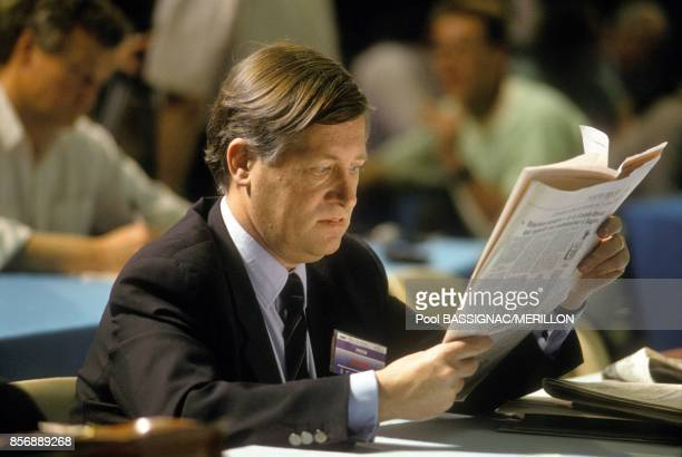 French journalist Alain Duhamel at Rennes congress of French Socialist Party on March 18 1990 in Rennes France