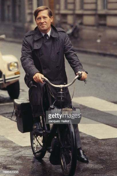 French journalist Alain Duhamel riding a solex