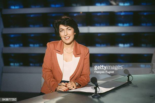 French journalist and broadcaster Ruth Elkrief on the set of the evening news on French channel TF1