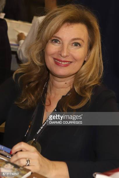 French journalist and former France's first lady Valerie Trierweiler poses during the 36th edition of the 'Foire du Livre de Brive' book fair on...