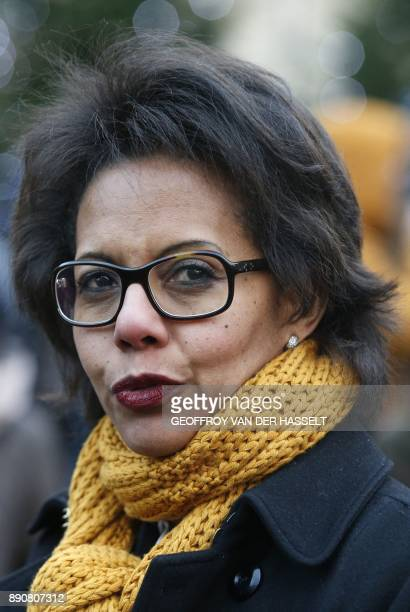 French journalist and president of the Fondation pour la nature et l'homme Audrey Pulvar takes part in a demonstration called by NGO's outside the...