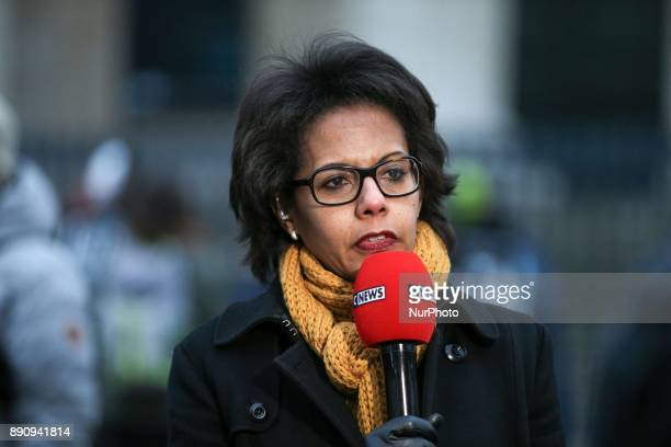 French journalist and president of the Fondation pour la nature et l'homme Audrey Pulvar speaks with the press as she takes part in a demonstration...