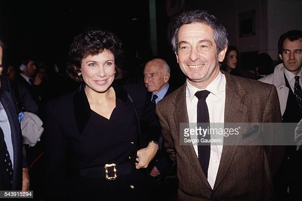 French journalist and TV host Anne Sinclair and her husband journalist Ivan Levai attend the 35th anniversary of L'Express news magazine