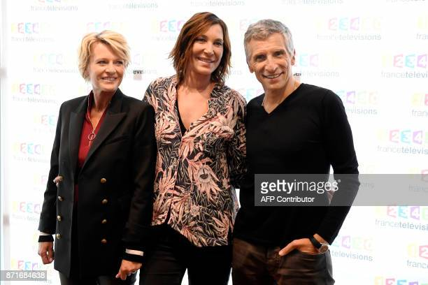 French journalist and TV host Sophie Davant French singer Zazie and French TV host Nagui pose during a photocall for the 31st edition of the French...