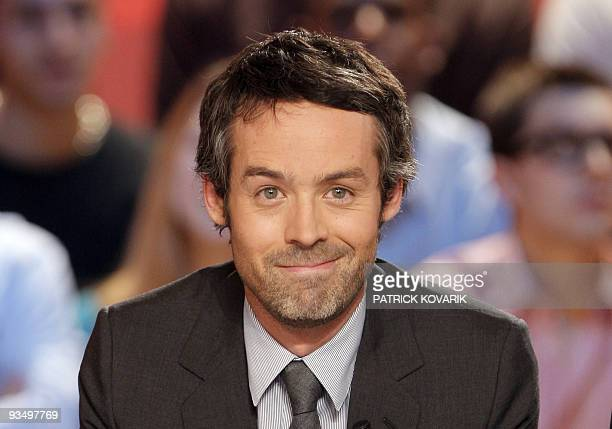 French journalist and TV host Yann Barthes attends the recording of 'Le Grand journal' news program on Canal TV channel on November 25 2009 in Paris...