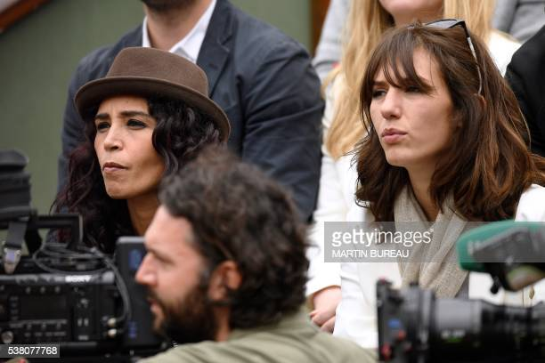 French journalist and tv presenter Aida Touihri French actress Doria Tillier attend the women's final match between US player Serena Williams and...