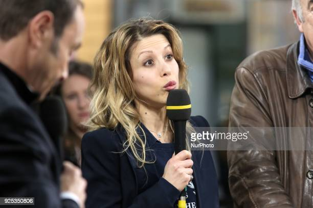 French journalist and writer Tristane Banon participates in a show during the 55th International Agriculture Fair at the Porte de Versailles...