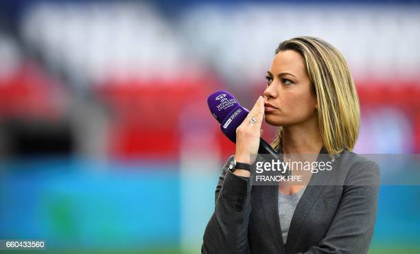French journalist AnneLaure Bonnet is pictured prior to the UEFA Women's Champions League quarterfinal second leg football match between Paris...