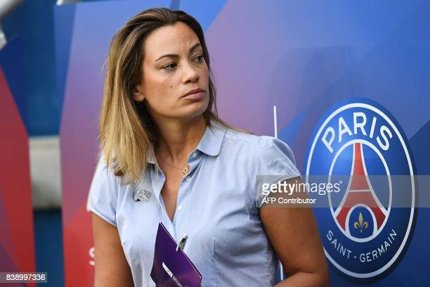 French journalist AnneLaure Bonnet looks on prior to the French L1 football match between Paris SaintGermain and SaintEtienne on August 25 at the...