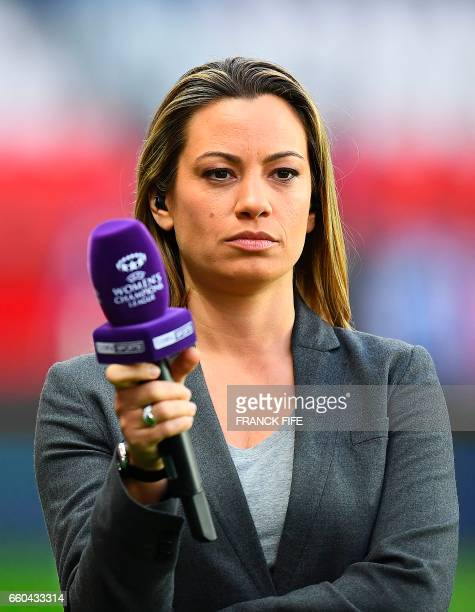French journalist AnneLaure Bonnet looks on prior to the UEFA Women's Champions League quarterfinal second leg football match between Paris...