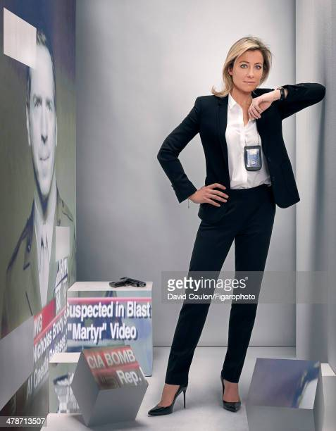 108875004 French journalist AnneSophie Lapix is photographed for Madame Figaro as Carrie Mathison for Homeland on January 17 2014 in Paris France...