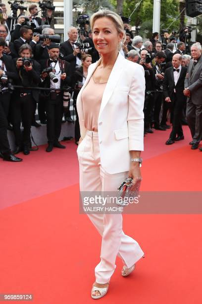 French journalist AnneSophie Lapix poses as she arrives on May 18 2018 for the screening of the film 'The Wild Pear Tree ' at the 71st edition of the...