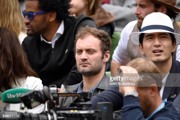 French journalist Augustin Trapenard the women's final match between US player Serena Williams and Spain's Garbine Muguruza at the Roland Garros 2016...