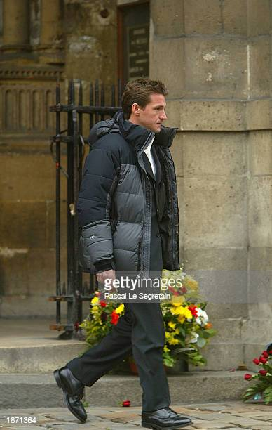 French journalist Benjamin Castaldi attends the funeral services for French actor Daniel Gelin December 4 2002 in Paris Gelin known best to English...