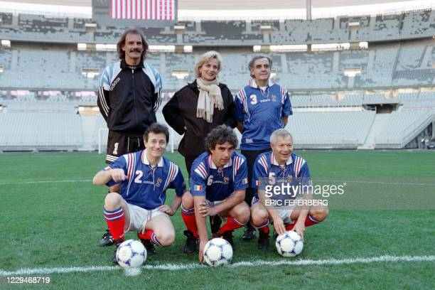 French journalist Bernard Pivot poses with French actor Francis Huster, football player Dominique Rocheteau, writer Denis Tillinac and French...