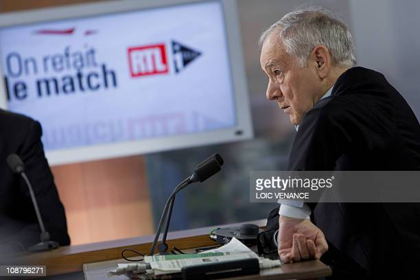 French journalist Eugene Saccomano hosts the On refait le Match TV show on I Tele news channel on January 31 2011 in Paris AFP PHOTO LOIC VENANCE