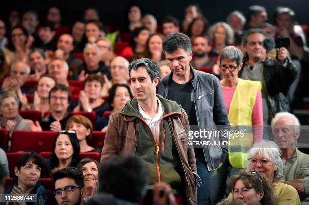 French journalist filmmaker and member of parliament of the leftist La France Insoumise party Francois Ruffin and codirector Gilles Perret arrive on...