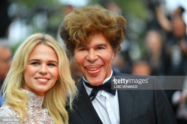 French journalist Igor Bogdanov and his companion French model Julie Jardon arrive on May 25, 2017 for the screening of the tv series 'Twin Peaks' at...