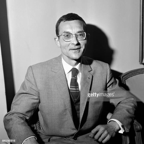 French journalist José Hanu of the French regional newspaper 'La Voix du Nord' poses after winning the 1964 Albert Londres prize for his articles on...