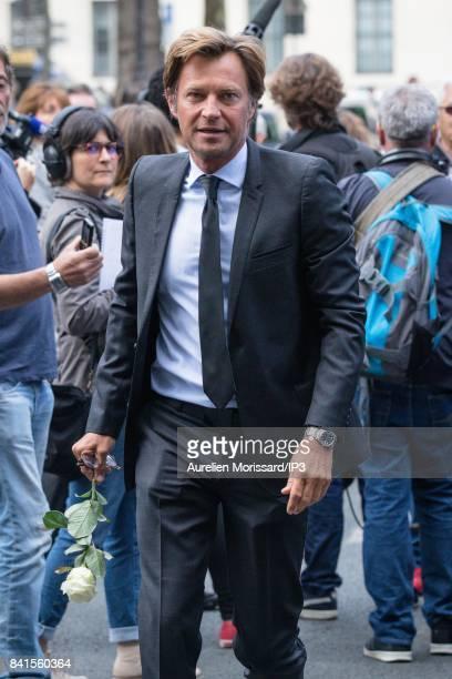 French Journalist Laurent Delahousse attends Mireille Darc's Funerals at Eglise Saint Sulpice at Eglise Saint Sulpice on September 1 2017 in Paris...
