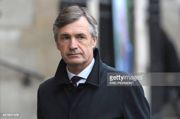 French journalist Nicolas Beytout arrives for Total's CEO Christophe de Margerie memorial service at the Saint Sulpice church in Paris on October 27...