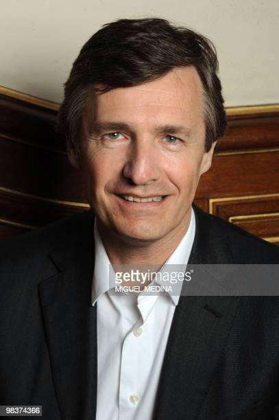 French journalist Nicolas Beytout poses on April 10 2010 during the Cite de la Reussite in Paris La Cite de la Reussite has gathered students from...