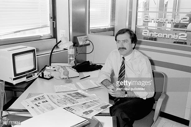 French journalist Noel Mamere in his office at television station Antenne 2