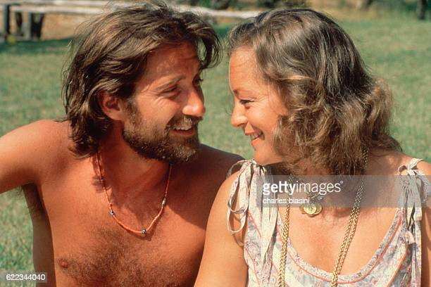 French journalist of Italian origin Daniel Biasini and his wife Austrianborn German actress Romy Schneider