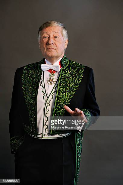 French journalist political commentator and writer Alain Duhamel member of the Academy of Moral and Political Sciences in his academician uniform