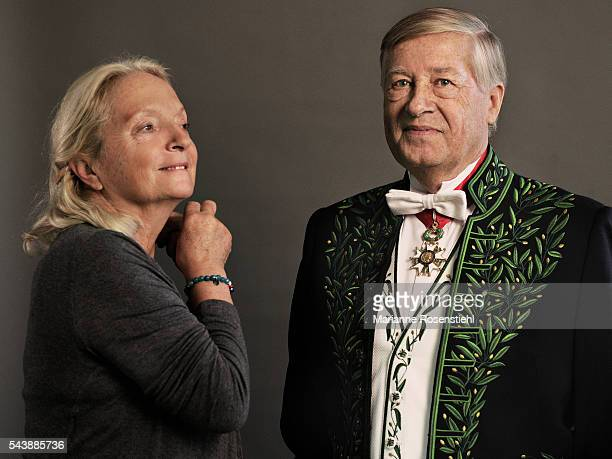 French journalist political commentator and writer Alain Duhamel member of the Academy of Moral and Political Sciences He poses with his wife France...