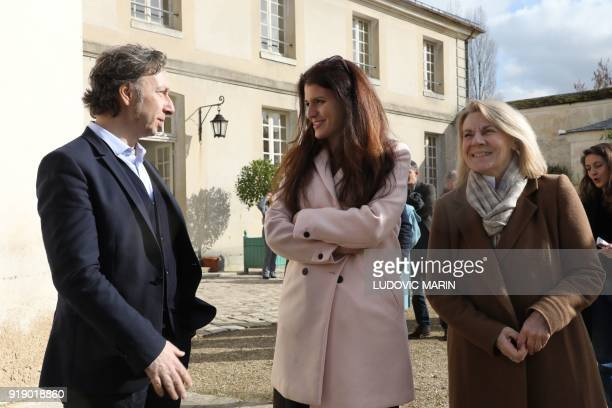 French journalist Stephane Bern speaks with French Junior Minister for Gender Equality Marlene Schiappa and President of The National Estate of...