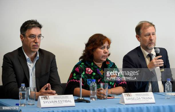 AFP French journalist Sylvain Estibal the widow of slain Mexican journalist Javier Valdez Griselda Triana and Mexico's representative for the UN High...