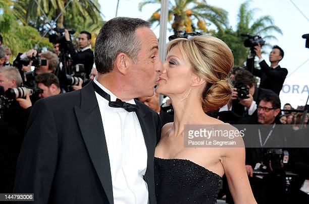 French journalist Thierry Ardisson and girlfriend Audrey CrespoMara attend the Lawless Premiere during the 65th Annual Cannes Film Festival at Palais...