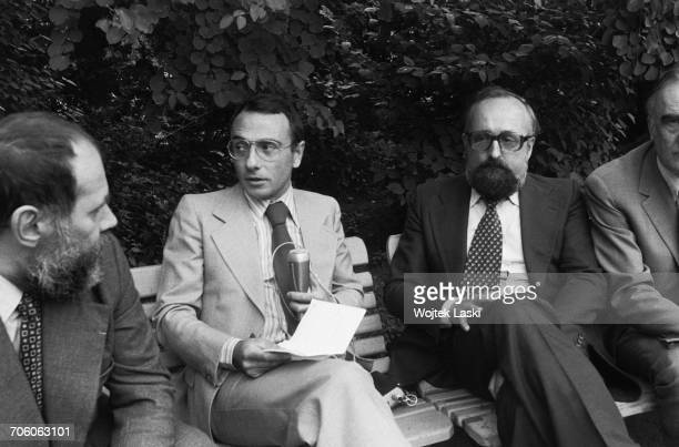 French journalist Yves Mourousi and Polish classical music composer Krzysztof Penderecki in Zelazowa Wola birthplace of Frederic Chopin Poland in...